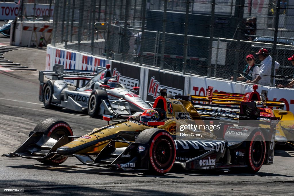 James Hinchcliffe of Canada drives the #5 Honda IndyCar en route to victory in the Grand Prix at Long Beach IndyCar race on April 9, 2017 in Long Beach California.