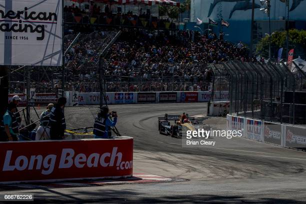 James Hinchcliffe of Canada drives the Honda IndyCar en route to victory in the Grand Prix at Long Beach IndyCar race on April 9 2017 in Long Beach...