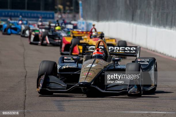 James Hinchcliffe of Canada drives the Honda IndyCar on the track during the Firestone Grand Prix of Saint Petersburg IndyCar race on March 11 2018...