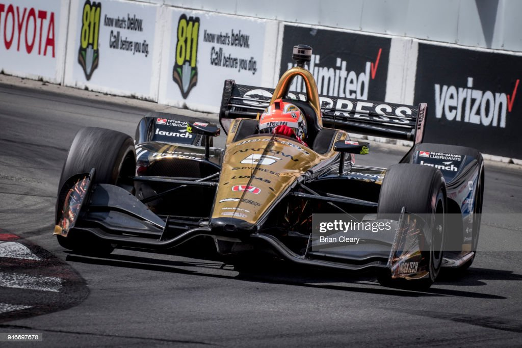 James Hinchcliffe, of Canada, drives the #5 Honda IndyCar on the track during the Toyota Grand Prix of Long Beach IndyCar race on April 15, 2018 in Long Beach, California.