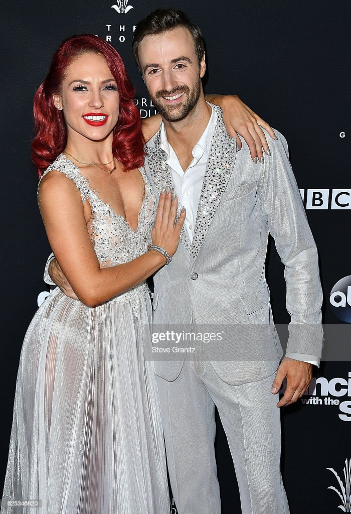 James Hinchcliffe, Sharna Burgess arrives at the ABC's 'Dancing With The Stars' Season 23 Finale at The Grove on November 22, 2016 in Los Angeles, California.