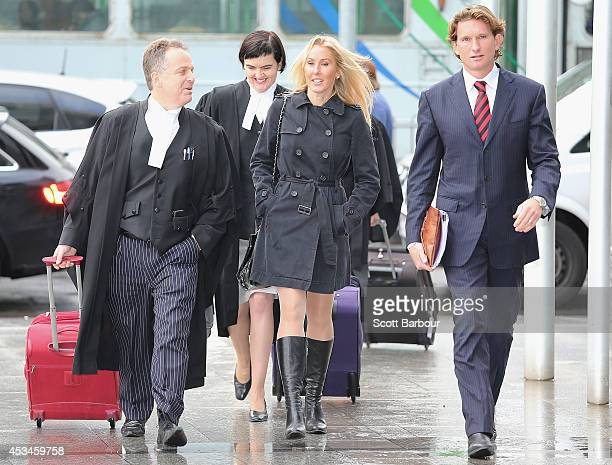 James Hird and his wife Tania along with lawyers arrive at the Federal Court ahead of the case looking into the AFLASADA Investigation into the...
