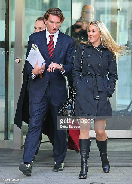 James Hird and his wife Tania Hird leave the Federal Court after the first day of the case looking into the AFLASADA Investigation into the alleged...