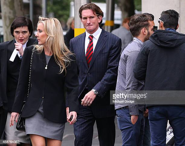 James Hird arrives with wife Tania Hird at Melbourne Federal Court on November 11 2014 in Melbourne Australia Essendon challenged the joint AFLASADA...