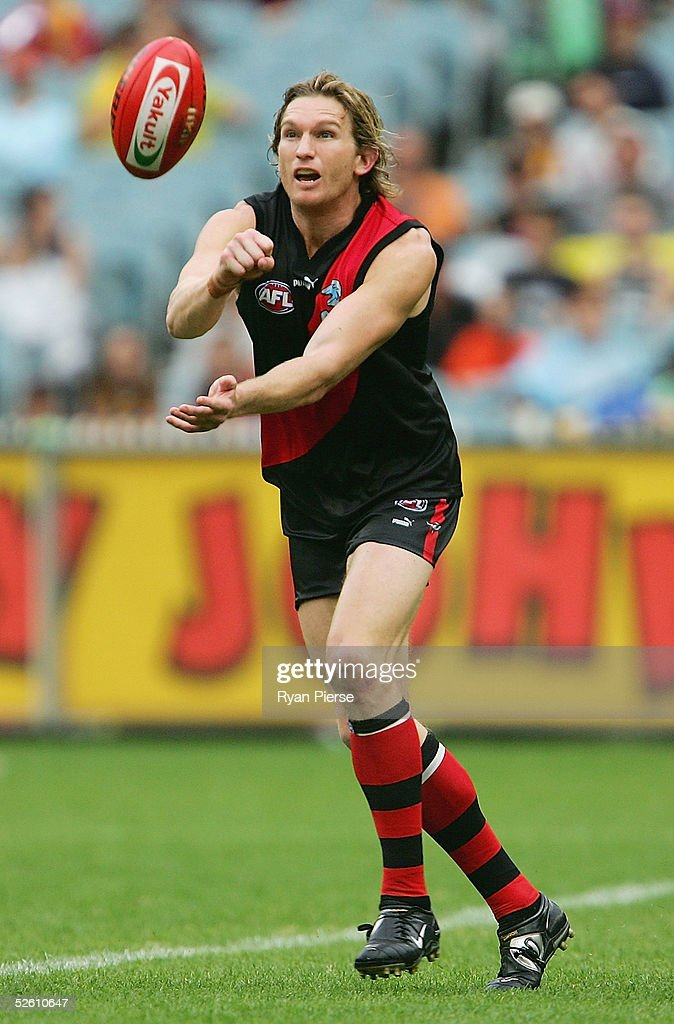 James Hird #5 for the Bombers in action during the round three AFL match between the Essendon Bombers and the Hawthorn Hawks at the M.C.G. on April 10, 2005 in Melbourne, Australia.
