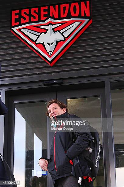 James Hird returns to work at True Value Solar Centre on August 25 2014 in Melbourne Australia Hird was banned for one year following the...