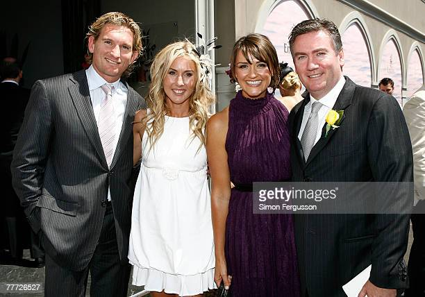 James Hird Tania Hird Eddie McGuire and Carla McGuire pose outside the Emirates marquee on the second day of the Melbourne Cup Carnival 2007...