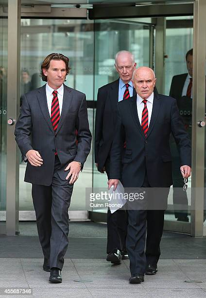 James Hird the Essendon coach and Paul Little the Essendon Chairman walk out of the Melbourne Federal Court on September 19 2014 in Melbourne...