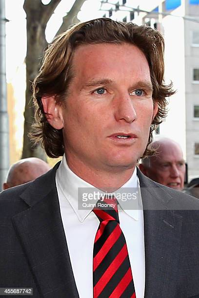 James Hird the Essendon coach leaves the Melbourne Federal Court on September 19 2014 in Melbourne Australia Justice John Middleton was today...