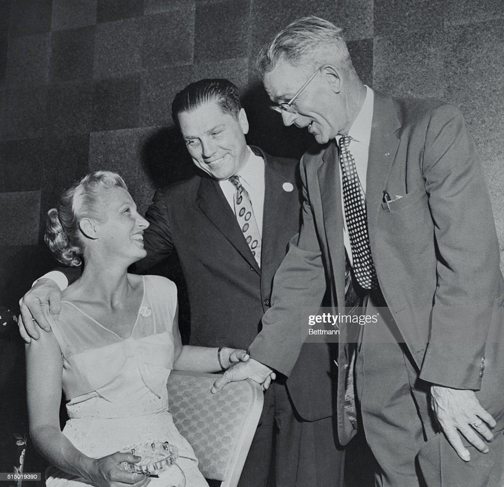 Portrait of James Hoffa with Wife and Andrew McFarlane : News Photo
