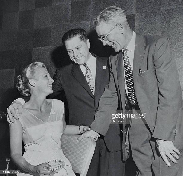 James Hoffa Vice President of the Teamsters Union and front runner for the presidency is shown with his wife and Andrew McFarlane President of the...