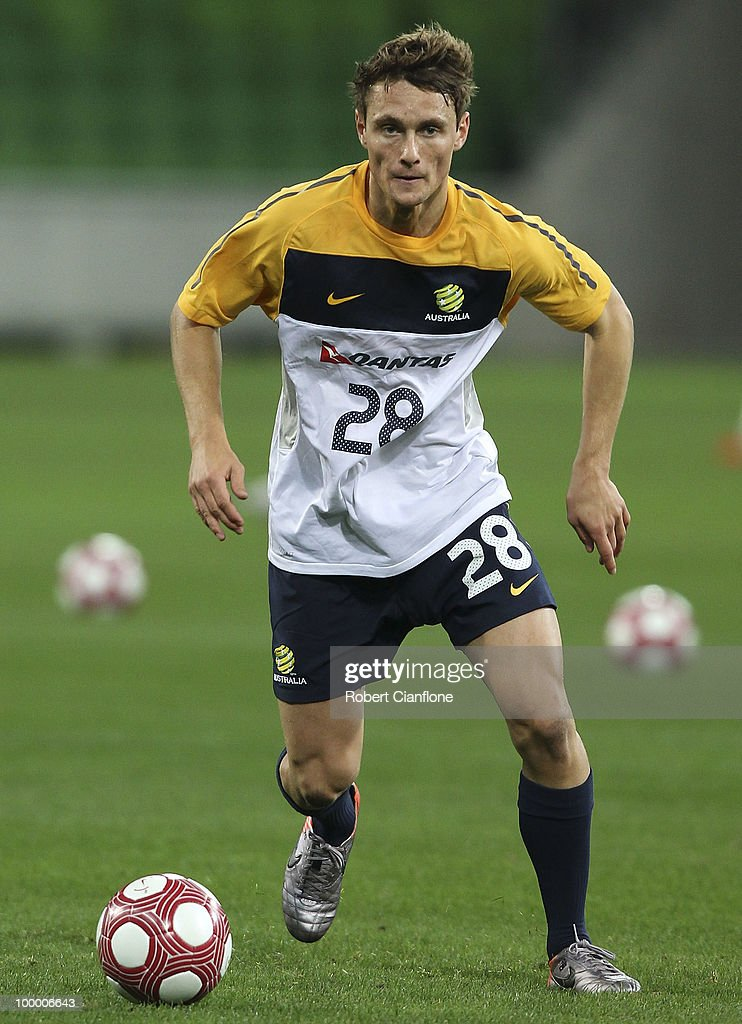 James Holland of Australia controls the ball during an Australian Socceroos training session at AAMI Park on May 20, 2010 in Melbourne, Australia.