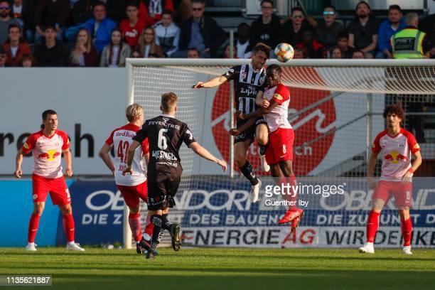 James Holland of LASK and Diadie Samassekou of Salzburg during the tipico Bundesliga match between LASK and RB Salzburg at TGW Arena on April 7 2019...