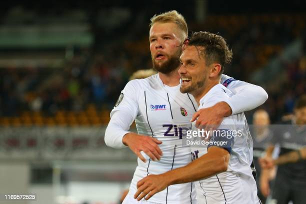 James Holland of Lask celebrates with his teammate Klauss of Lask after scoring the opening goal during the UEFA Europa League match between LASK and...