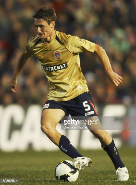 James Holland of the Jets controls the ball during the round one A-League match between the Newcastle Jets and the Central Coast Mariners held at...