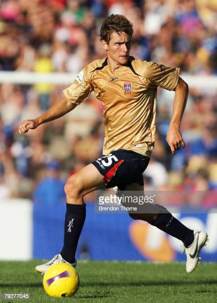 James Holland of the Jets in action during the A-League Major Semi Final first leg match between the Newcastle Jets and the Central Coast Mariners...