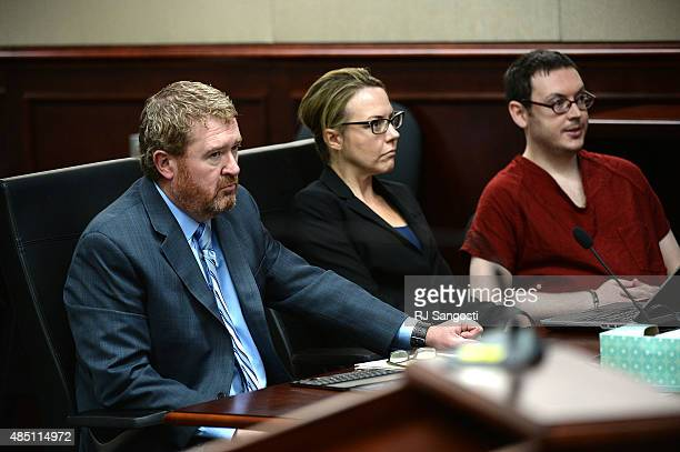James Holmes appears in court to be formally sentenced alongside his attorneys Daniel King and Katherine Spengler Victims and their families were...
