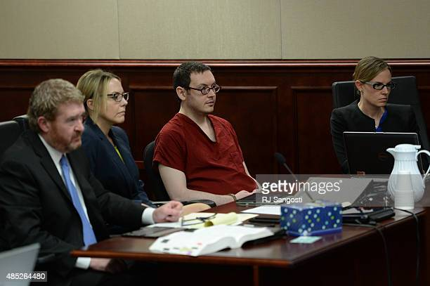 James Holmes appears in court with his attorneys Daniel King Katherine Spengler and Kristen Nelson to be formally sentenced The formal sentencing...