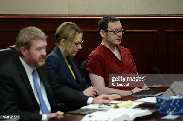 James Holmes appears in court with his attorneys Daniel King and Katherine Spengler to be formally sentenced The formal sentencing continued for the...