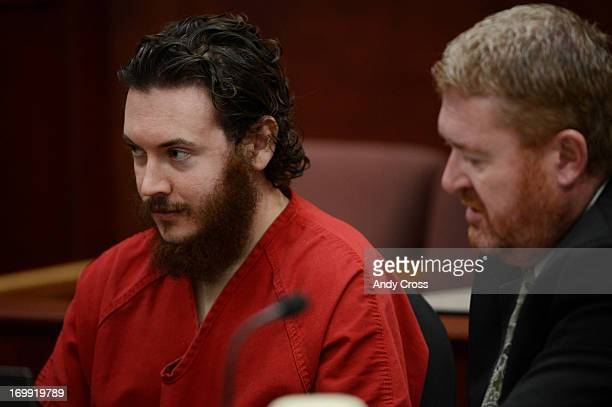 James Holmes left and his defense attorney Daniel King in court Tuesday morning June 04 2013 for an advisement hearing at the Arapahoe County Justice...