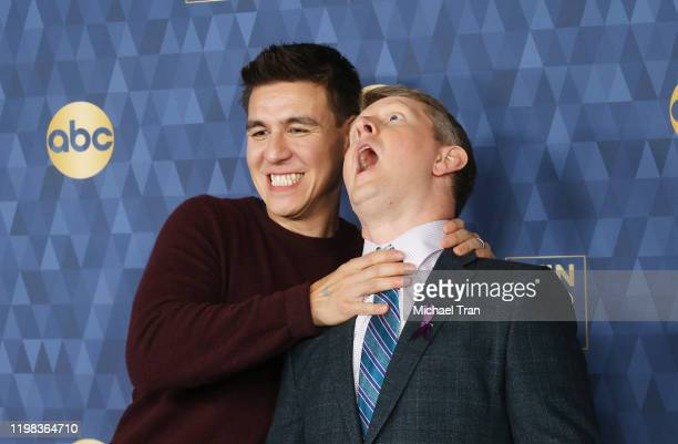 James Holzhauer and Ken Jennings attend ABC Television's Winter Press Tour 2020 held at The Langham Huntington Pasadena on January 08 2020 in...