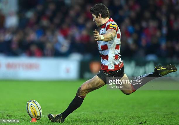 James Hook of Gloucester Rugby kicks a penalty during the Aviva Premiership match between Gloucester Rugby and Leicester Tigers at Kingsholm Stadium...