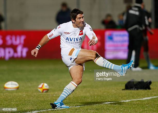 James Hook of Perpignan in action before kick off during the Top 14 match between Perpignan and ASM Clermont Auvergne at Stade Aime Giral on November...
