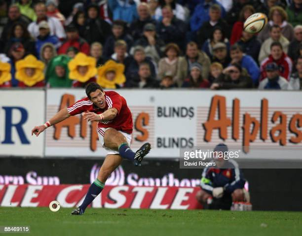 James Hook of the Lions kicks a late match winning penalty during the match between Western Province and the British and Irish Lions on their 2009...