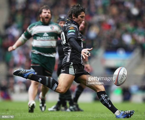 James Hook of the Ospreys kicks the ball downfield during the EDF Energy Cup Final between Leicester Tigers and the Ospreys at Twickenham on April 12...