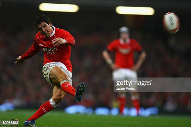 James Hook of Wales attempts a conversion during the RBS Six Nations Championship match between Wales and France at the Millennium Stadium on March...