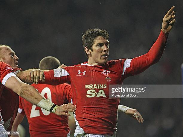 James Hook of Wales celebrates after scoring a try during the RBS 6 Nations Championship match between England and Wales at Twickenham Stadium on...
