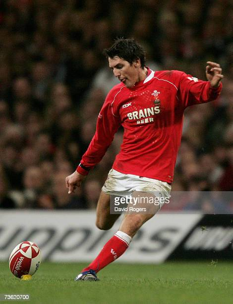 James Hook of Wales kicks a penalty during the RBS Six Nations Championship match between Wales and England at the Millennium Stadium on March 17...