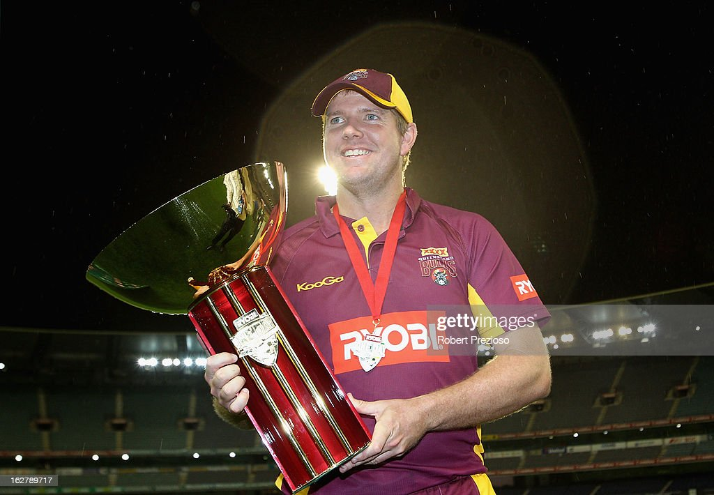 James Hopes captain of the Bulls poses with the Ryobi One Day Cup after winning the Ryobi One Day Cup final match between the Victorian Bushrangers and the Queensland Bulls at Melbourne Cricket Ground on February 27, 2013 in Melbourne, Australia.