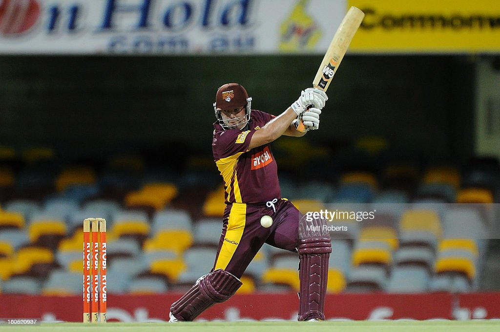 James Hopes of the Bulls bats during the Ryobi One Day Cup match between the Queensland Bulls and the Western Australia Warriors at The Gabba on February 2, 2013 in Brisbane, Australia.