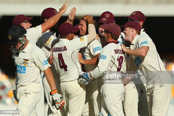 James Hopes of the Bulls celebrates with team mates after dismissing Cameron Bancroft of the Warriors during day two of the Sheffield Shield match...