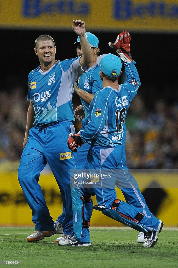 James Hopes of the Heat celebrates a wicket during the Big Bash League match between the Brisbane Heat and the Melbourne Stars at The Gabba on January 3, 2013 in Brisbane, Australia.