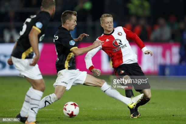 James Horsfield of NAC Breda Arno Verschueren of NAC Breda Sam Larsson of Feyenoord during the Dutch Eredivisie match between Feyenoord Rotterdam and...