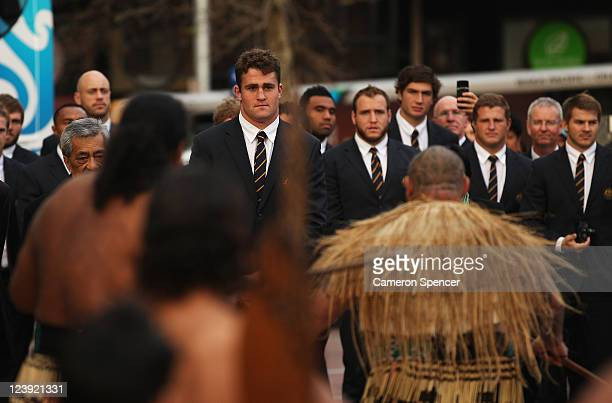 James Horwill captain of the Wallabies and team mates observe a traditional Maori welcome at the IRB Rugby World Cup 2011 official team welcome...