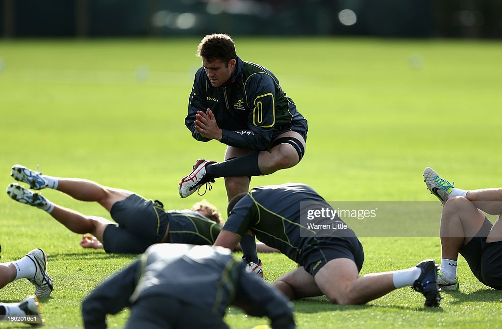 James Horwill of Australia in action during a training session at Latymer School on October 29, 2013 in London, England.