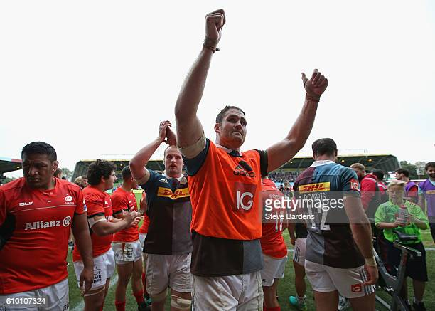 James Horwill of Harlequins salutes the home supporters after victory over Saracens after the Aviva Premiership match between Harlequins and Saracens...