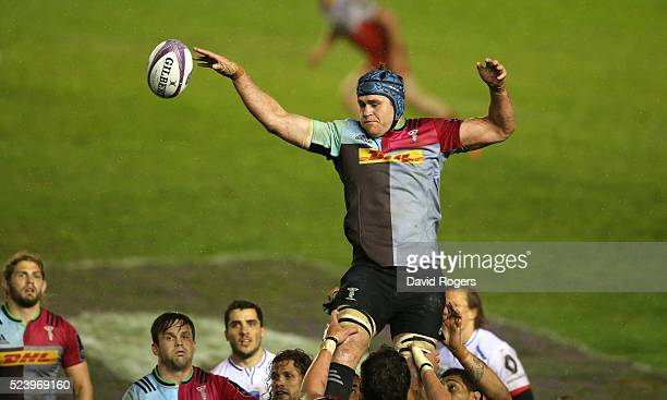 James Horwill of Harlequins wins the lineout during the European Rugby Challenge Cup semi final match between Harlequins and Grenoble at Twickenham...