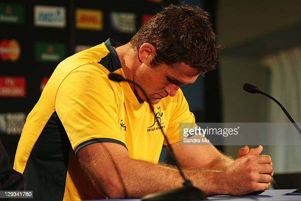 James Horwill of the Wallabies looks dejected in the post match press conference after semi final two of the 2011 IRB Rugby World Cup between New...