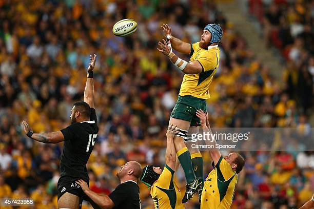 James Horwill of the Wallabies takes a lineout ball during the Bledisloe Cup match between the Australian Wallabies and the New Zealand All Blacks at...