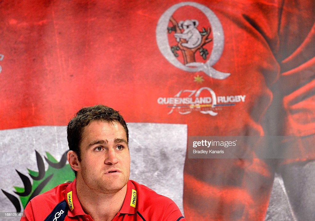 James Horwill speaks to the media and announces that he will be extending his contract with the Reds for a further two years during a Queensland Reds Super Rugby media announcement at Ballymore Stadium on May 6, 2013 in Brisbane, Australia.