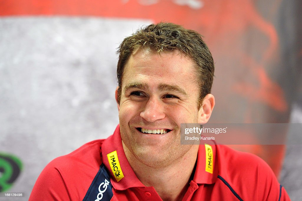 James Horwill speaks to the media as he announces that he will be extending his contract with the club for a further two years during a Queensland Reds Super Rugby media announcement at Ballymore Stadium on May 6, 2013 in Brisbane, Australia.