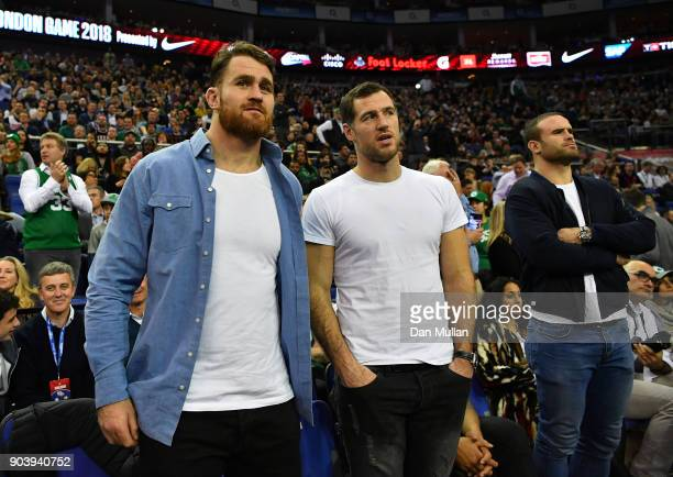 James Horwill Tim Visser and Jamie Roberts of Harlequins attend the NBA game between Boston Celtics and Philadelphia 76ers at The O2 Arena on January...