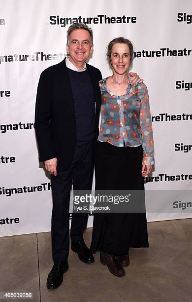 James Houghton and Naomi Wallace attend 'The Liquid Plane' Opening Night Party at Signature Theatre Company's The Pershing Square Signature Center on...