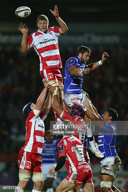 James Hudson of Gloucester wins the ball from Hugues Briatte of Brive during the European Rugby Challenge Cup Pool 5 match between Gloucester Rugby...