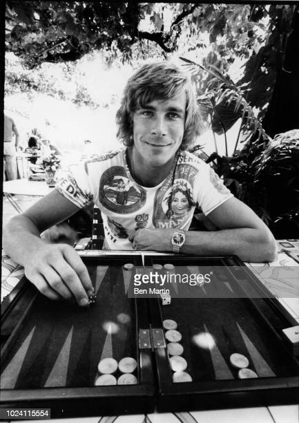 James Hunt , 29 year-old-race-driver, playing backgammon, September 16th, 1975.