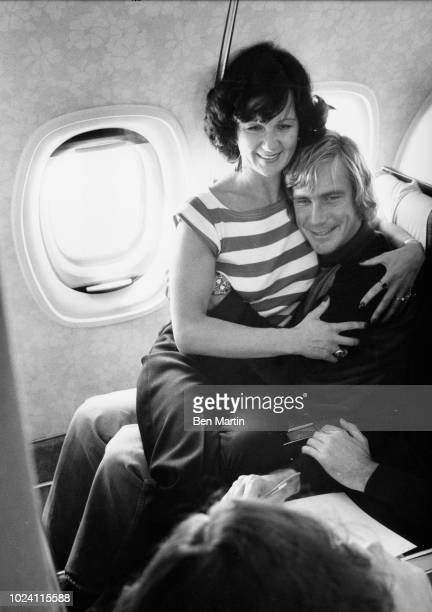 James Hunt aboard a flight with a girlfriend, September 16th 1977.